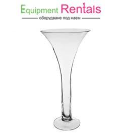Стъклена ваза конус 50см под наем